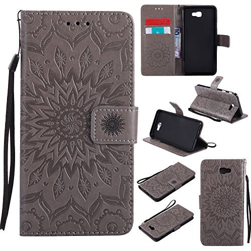 Galaxy J7 Prime Wallet Case,A-slim(TM) Sun Pattern Embossed PU Leather Magnetic Flip Cover Card Holders & Hand Strap Wallet Purse Case for Samsung Galaxy J7 Prime / On7 2016