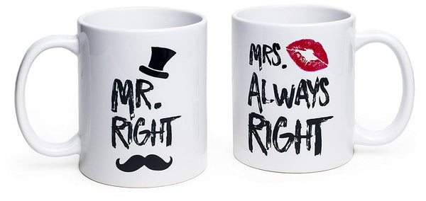 Funny Wedding Gifts - Mr. Right and Mrs. Always Right Coffee Novelty Mug Set - Engagement Gifts for Couples