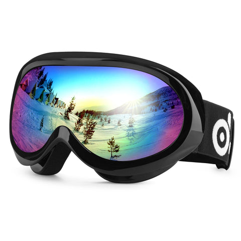 Odoland Snow Ski Goggles S2 Double Lens Anti-fog Windproof UV400 Eyewear for Youth - Skiing, Snowboarding, Motorcycle Cycling and Snowmobile Winter Outdoor Sports Protective Glasses