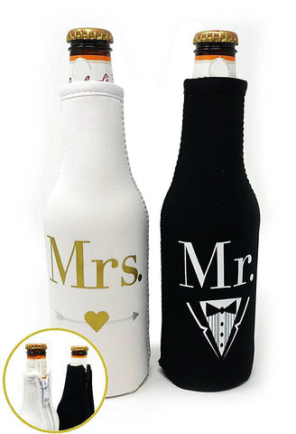 Mr. & Mrs. Beer Bottle Cooler Sleeves Black & White Gift Set 2 Pack - Perfect for Wedding, Bridal Shower, Engagement Party & So Much More...