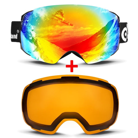 Odoland Magnetic Interchangeable Ski Goggles with 2 Lens, Large Spherical Frameless Snow Goggles for Men & Women, OTG and UV400 Protection