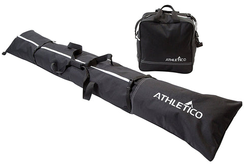 Athletico Two-Piece Ski and Boot Bag Combo | Store & Transport Skis Up to 200 CM and Boots Up To Size 13 | Includes 1 Ski Bag & 1 Ski Boot Bag (Black)