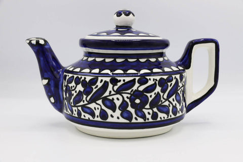 Handmade Ceramic Teapot Ceramic Coffee Hebron Crafts Decorated With A Beautiful Navy Blue Pattern