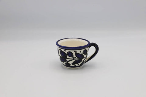 Ceramic Cup of Coffee Hebron Crafts Decorated With A Beautiful Navy Blue Pattern