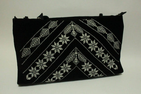 Fashion Women Handbags Zipper Kofeiah Style Natural Leather Combine With Cotton Velvet Materials Embroidered By Silk Thread Handmade Palestinian Embroidery