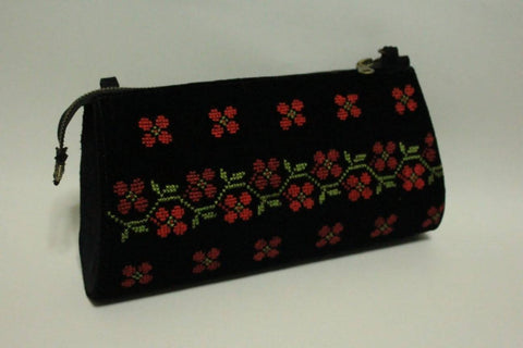 Fashion Women Handbags Zipper RAMA BLACK Natural Leather Embroidered By Silk Thread Hand Made