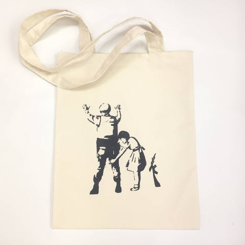 Banksy Soldier Search Tote Bag Shopping Palestine Souvenir Canvas Unisex Handbags