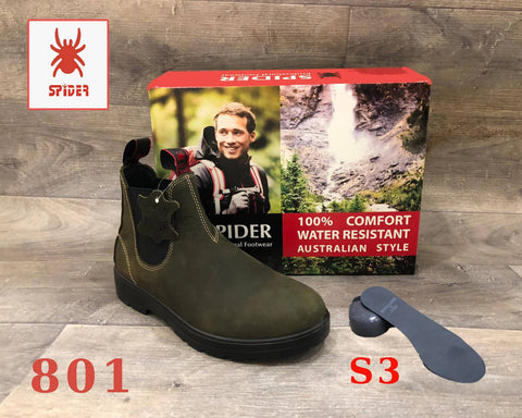 Spider Boots Steel Toe Cap Steel Plate Waterproof Fashion Work Safety Australian Style Natural Cow Leather