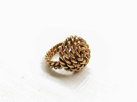 New handcrafted stunning style women ring twisted wire design copper /brass unique metal gift ring .