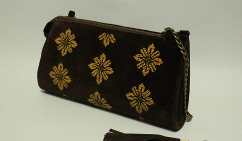 Fashion Women RAMA STYLE Brown Hand Bags Zipper Embroidered By Silk Thread With High Quality Cotton Velvet Materials Hand Made.