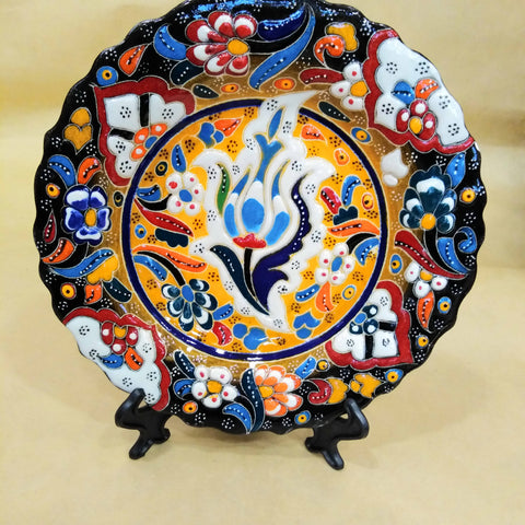 Handmade Turkish Traditional Ceramic Pottery Footed Candy Dish or Server