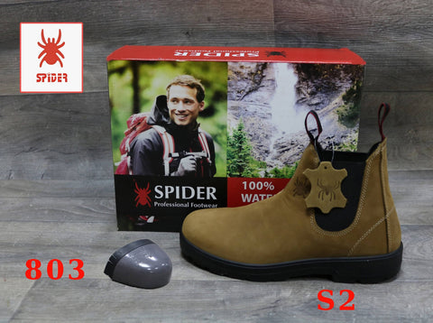 Spider Boots Toe Cap Steel Waterproof Fashion Work Safety Australian Style Natural Cow Leather
