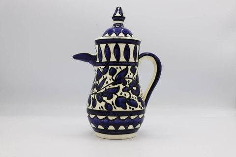 Ceramic Dallah Coffee Hebron Crafts Decorated With A Beautiful Navy Blue Pattern