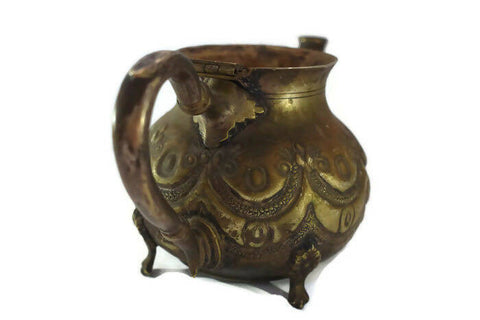 Islamic Vintage Original Middle Eastern Large Arabic Teapot Copper Brass Sealed
