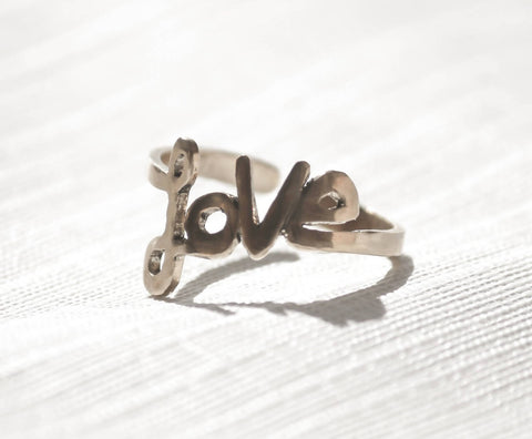 Handmade stunning promise love women ring adjustable size valentine gift ring love script made with 925 sterling silver metal