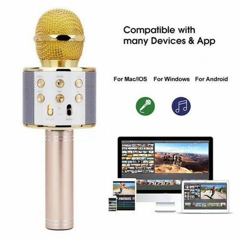 WS 858 wireless microphone professional condenser karaoke mic bluetooth stand ra