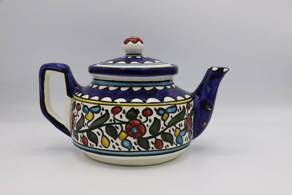 Handmade Ceramic Teapot Ceramic Coffee Hebron Crafts Decorated With A Beautiful Multi-Colors Pattern