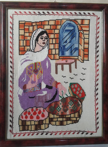 Wall Hanging Embroidery Working Palestinian Women Sit On a Street Selling Some Fruit