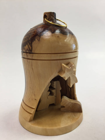 Olive Wood Small Bell W Nativity Set Holy Land Bethlehem Christianity.