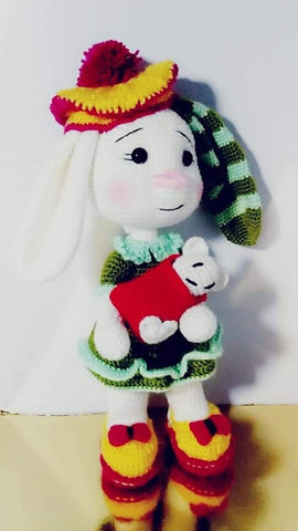 Handmade Embroidery Rabbit Multi Color Doll Fabric With Cotton Thread And Embroidery Of Eyes With Silk Thread