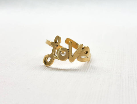 Handmade stunning promise love women ring adjustable size valentine gift ring love script made with Copper/ brass metal