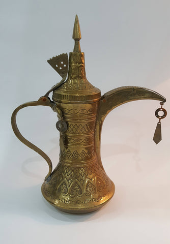 Antique Handmade Dallah Coffee Gulf Bahrain Pot Brass Middle East Height 32 cm