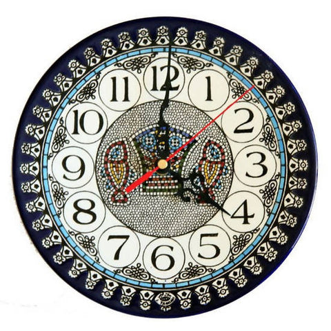 "Mosaic Fish Clock Armenian Ceramic (large) 8.7"" / 22 cm"