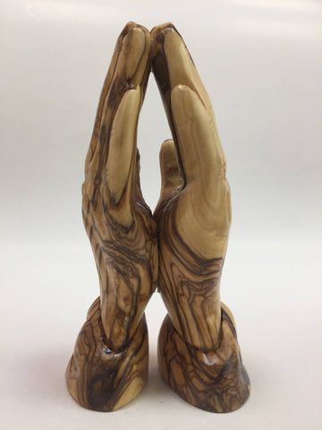 Olive Wood M Praying hand Holy Land Bethlehem Christianity.