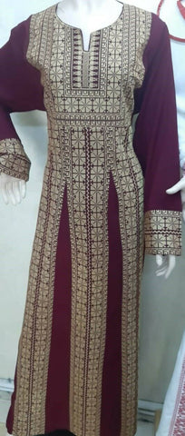Embroidery palestinian dress folklore thop abaya for women handmade heritage new