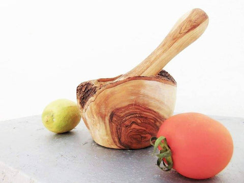 Olive Wood Rustic Mortar and Pestle, Wooden Mortar Pestle Grinder, Wedding gift