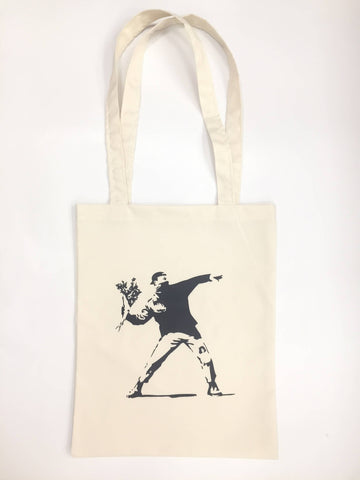 Banksy Flower Thrower Man Cool Shopping Palestine Souvenir Canvas Tote Bag Unisex Handbags