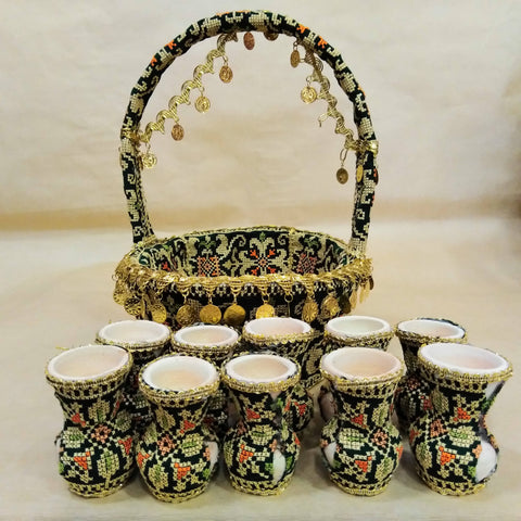 Color Green Blasket With 10 Pottery Embroidered Homemade Palestinian Folk Art Holy Land