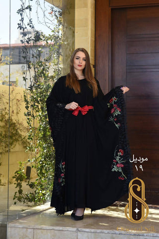Embroidery dress Oriental silk thop abaya for women handmade heritage