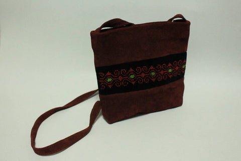 Fashion Women Hand Bags Zipper CROSS BAG Off Brown Natural Leather Combine With Cotton Velvet Materials Embroidered By Silk Thread Handmade Palestinian Embroidery
