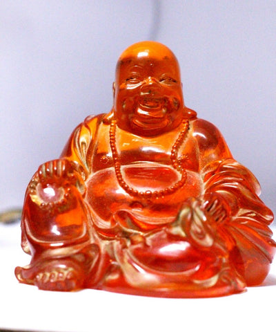 Buddha Statue Buddha Figurine Amber colored Sculpture China Buddha Tibet Figurine Happy Smiling Porcelain Buddha Chinese red Amber Cloisonne Yin Laughing