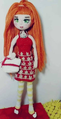Handmade Embroidery Girl Multi Color Doll Fabric With Cotton Thread And Embroidery Of Eyes With Silk Thread