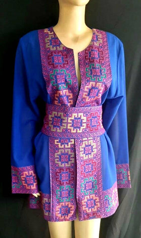 Blues Embroidery Shirt Palestinian Folklore Handmade Heritage Thop Woman Blue