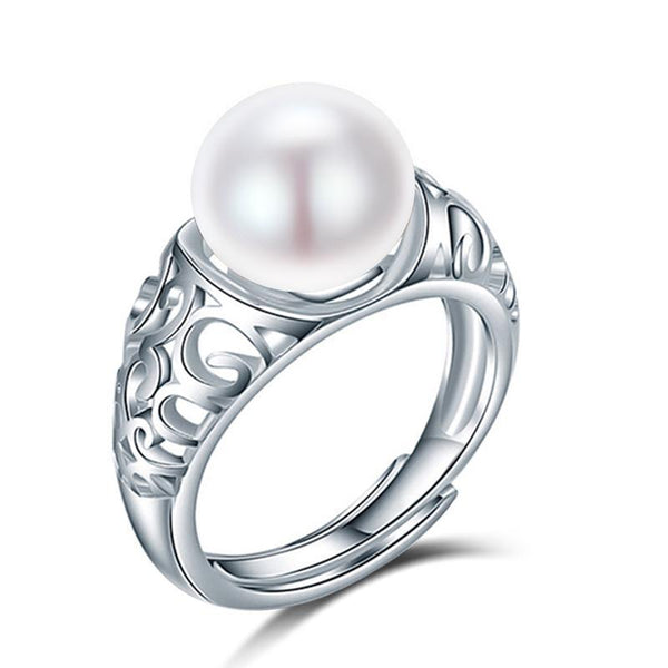 luxury brand 925 sterling silver natural freshwater pearl ring