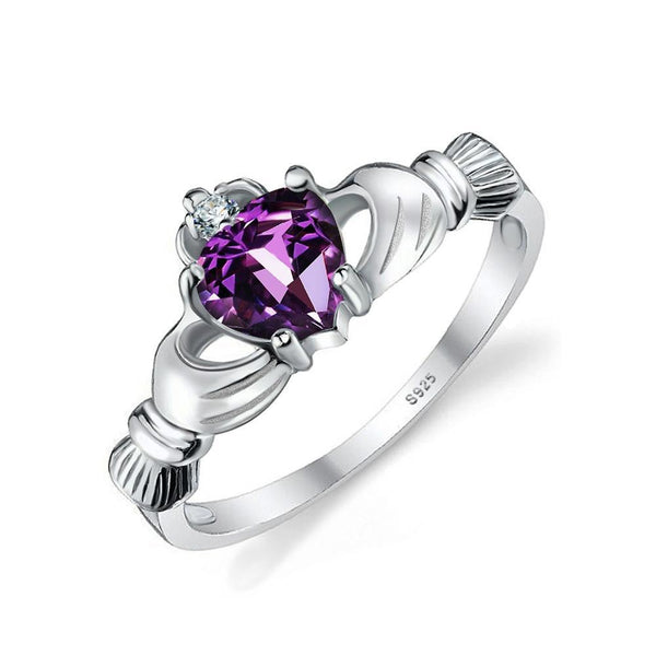 Natural Amethyst Birthstone Ring 925 Sterling Silver