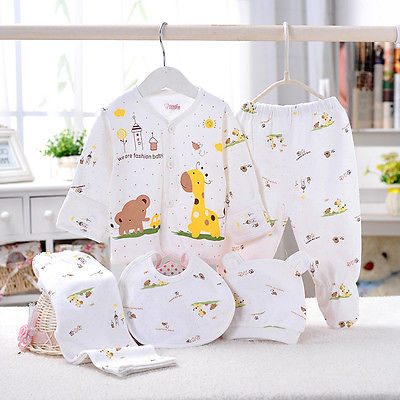 0-3M Baby Clothes set  Newborn Boys Girls Soft Underwear Animal Print Shirt and Pants Cotton clothing 5 pcs