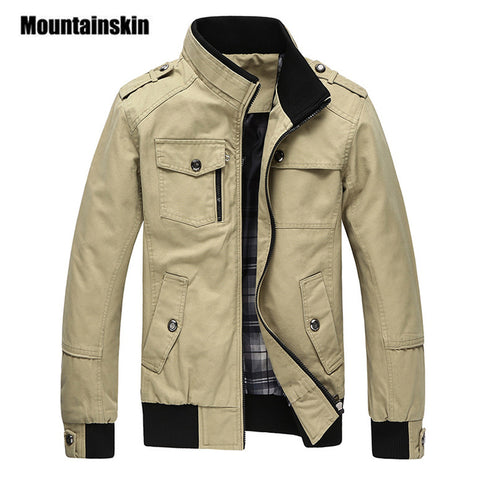 Mountainskin Casual Men's Jacket Spring Army Military Jacket Men Coats Winter Male Outerwear Autumn Overcoat Khaki 4XL EDA085