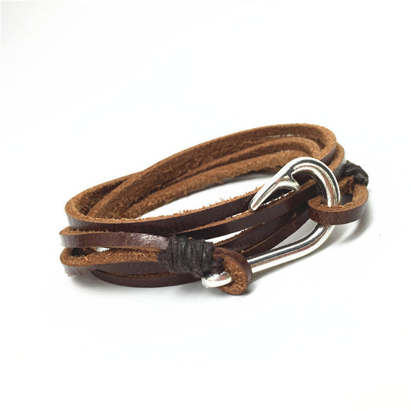 2016 Handmade Multilayer New Punk Vintage Fish Hook Charm Brown Genuine Leather Bracelets Men Jewelry Accessories Wholesale