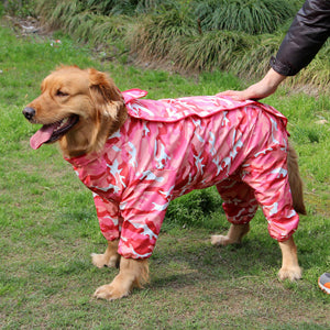 Large Dog Camouflage Raincoat Pet Jumpsuit Dog Raincoat Clothes