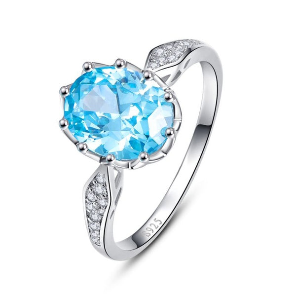 Blue Topaz Gem Stone Rings 925 Sterling Silver
