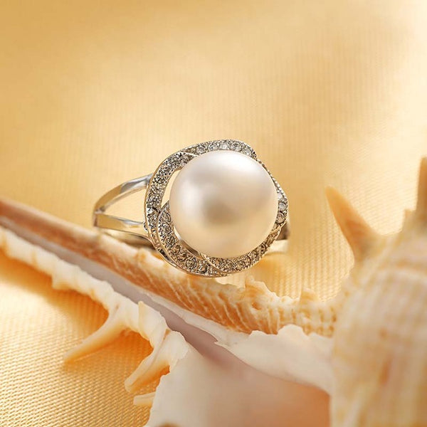 925 sterling silver pearl ring stone adjustable