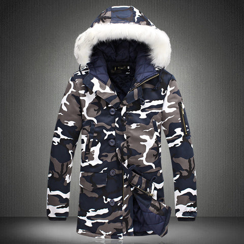 New 2016 Camouflage Down Parkas Jackets Men's Parka Hooded Coat Male Fur Collar Parkas Winter Jacket Men Military Down Overcoat