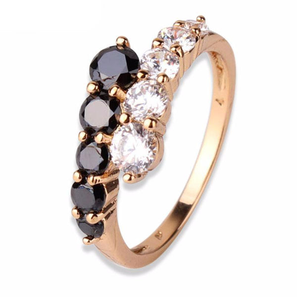 Gold-color Ring Black White Crystal Wedding Rings