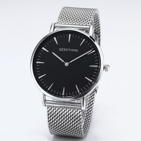 Luxury Brand Quartz watch men Black Casual stainless steel