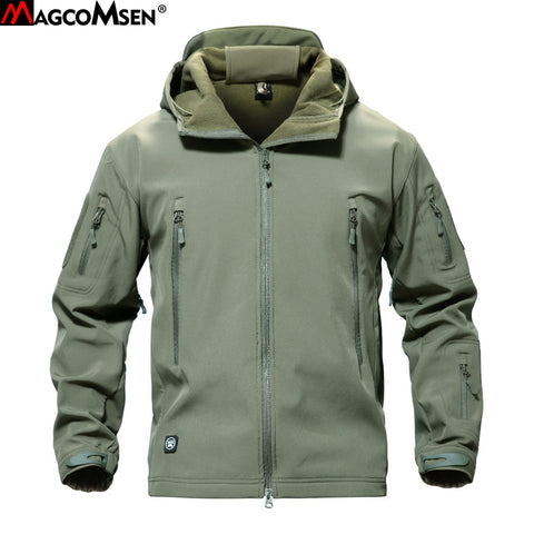 MAGCOMSEN Shark Skin Military Jacket Men Softshell Waterpoof Camo Clothes Tactical Camouflage Army Hoody Jacket Male Winter Coat