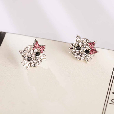 FAMSHIN Lovely Silver Plated Small Cute Hello Kitty Earrings For Girls Charm Crystal Turkish Jewelry Brincos Children Earings